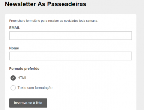 Newsletter semanal As Passeadeiras