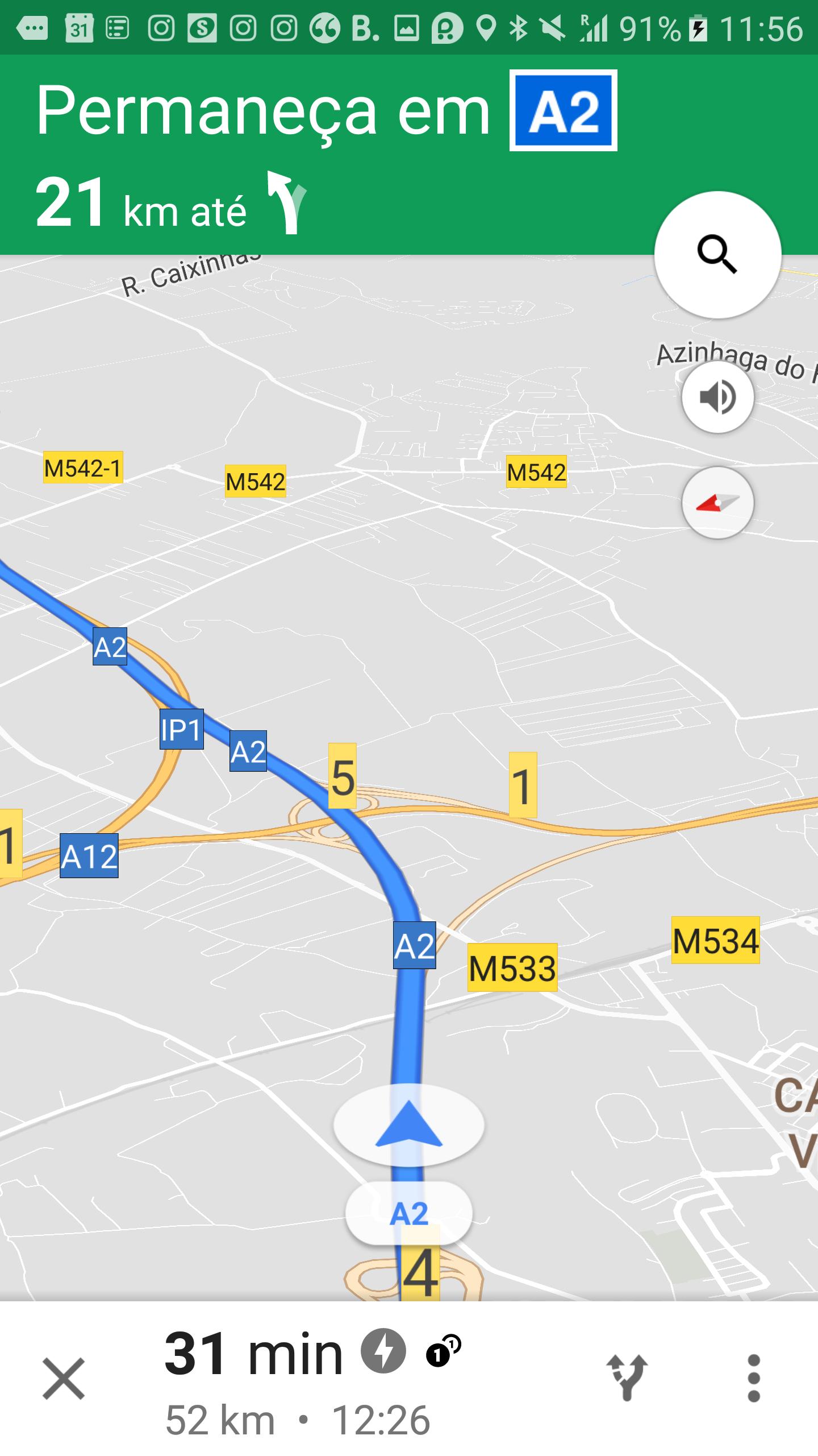 Tela do Google Maps durante a navegação