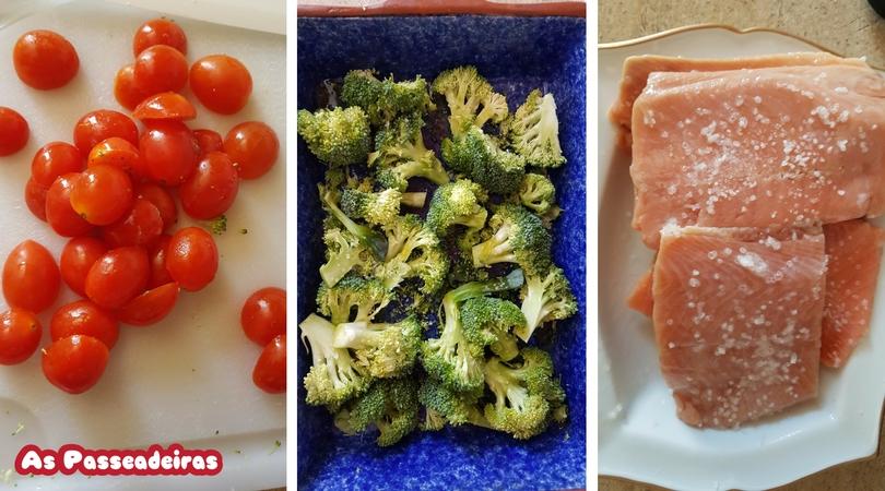 Salmão ao pesto com brócolis e tomates