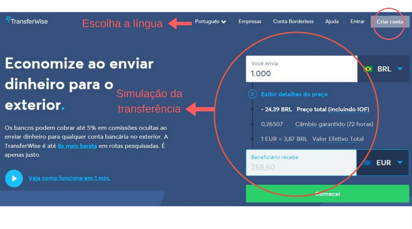 TransferWise como transferir dinheiro do brasil para portugal