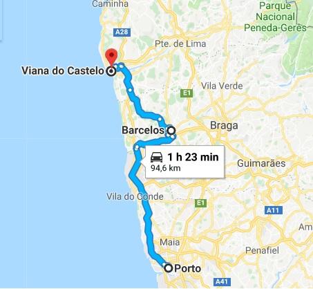 Caminho da cidade do Porto à Viana do Castelo, com pit-stop em Barcelos