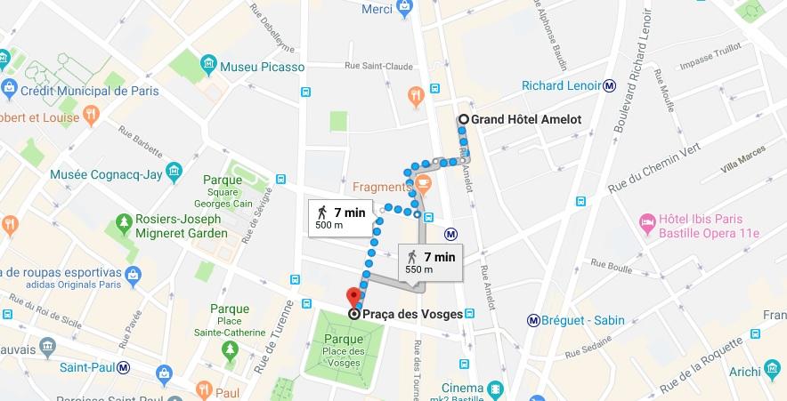 Distância do Grand Hotel Amelot para a Place des Vosges