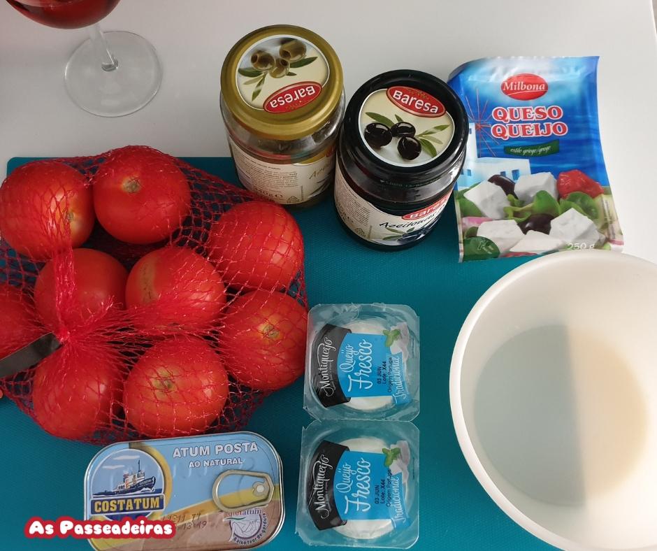 Ingredientes dos tomates recheados com atum