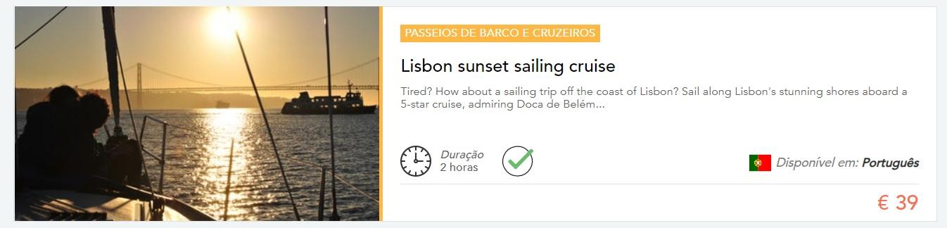 passeio de barco ao por do sol
