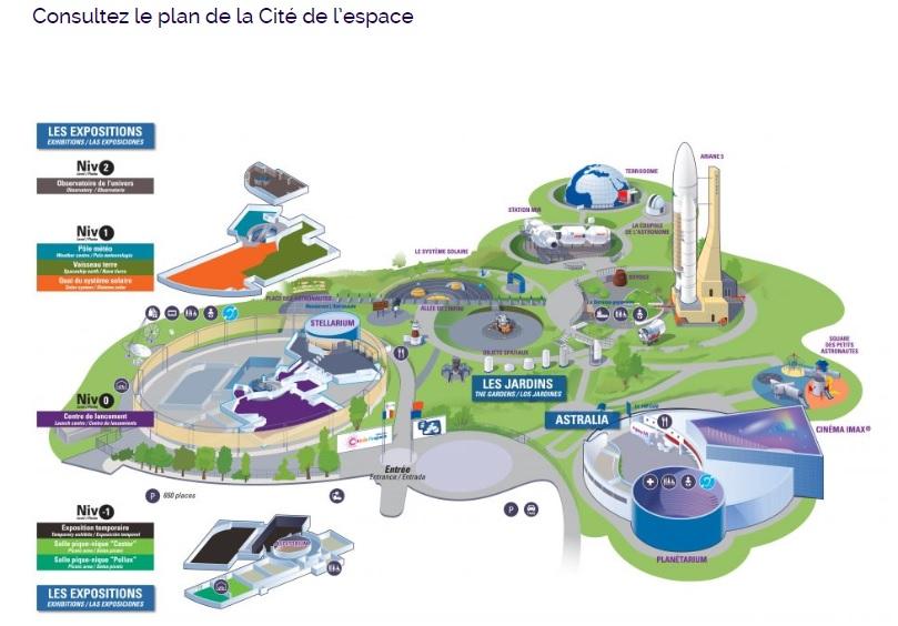 Mapa da Cité de l'espace